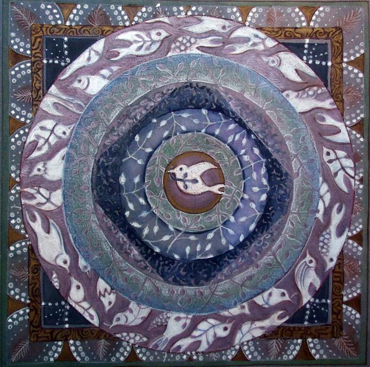 image of dove mandala painting