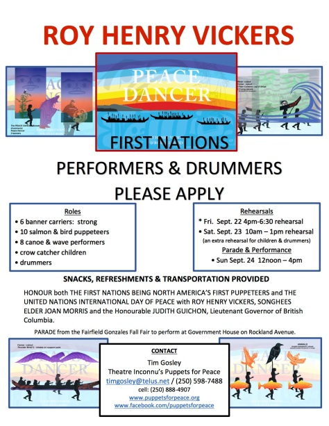 Call for First Nations performers and drummers for Roy Henry Vickers' Peace Dancer event